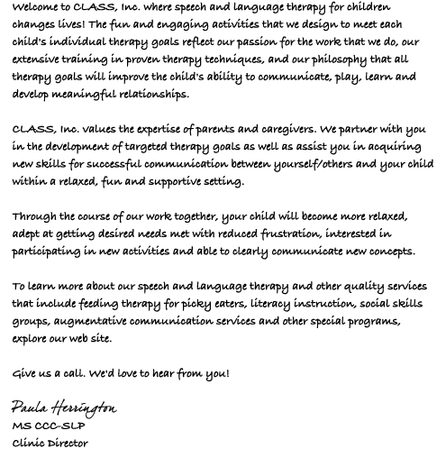 Welcome Letter from Paula Herrington
